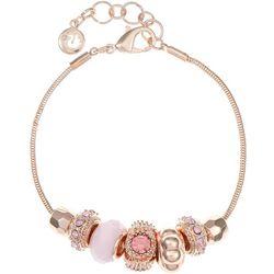 Gloria Vanderbilt Pink Bead & Rose Slider Bracelet