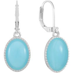Gloria Vanderbilt Blue Oval Drop Earrings