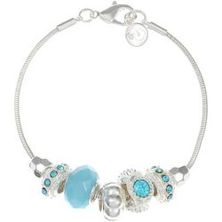Gloria Vanderbilt Aqua Bead Slider Bracelet