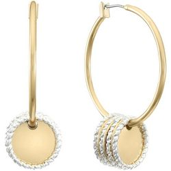 Gloria Vanderbilt Two Tone Disc Hoop Earrings
