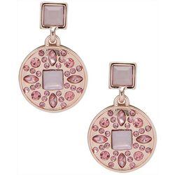 Gloria Vanderbilt Rose Tone Gem Drop Earrings