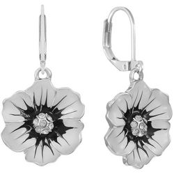 Gloria Vanderbilt White Multi Flower Drop Earrings
