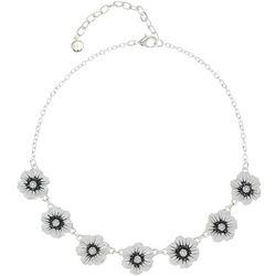 Gloria Vanderbilt White Flower Frontal Necklace