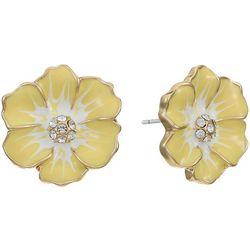 Gloria Vanderbilt Yellow Flower Stud Earrings