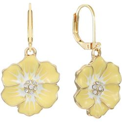 Gloria Vanderbilt Yellow Flower Leverback Earrings