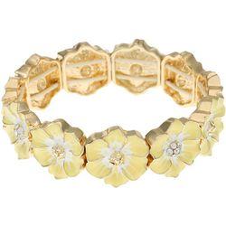 Gloria Vanderbilt Yellow Hibicus Flower Stretch Bracelet