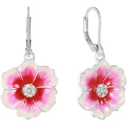 Gloria Vanderbilt Pink Enamel Flower Drop Earrings