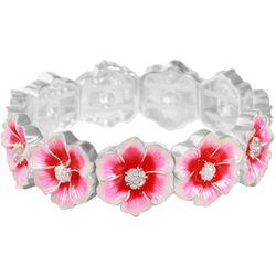 Gloria Vanderbilt Pink Hibiscus Flower Stretch Bracelet