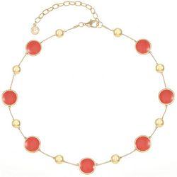 Gloria Vanderbilt Coral Enamel Collar Necklace