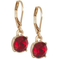 Gloria Vanderbilt Gold Tone Red Siam Stone Drop Earrings