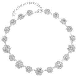 Gloria Vanderbilt Rhinestone Silver Tone Collar Necklace