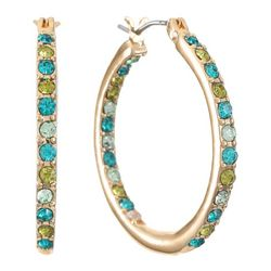Gloria Vanderbilt Rhinestone Goldtone Hoop Earrings
