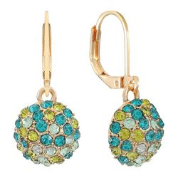 Gloria Vanderbilt  Gold Tone Rhinestone Ball Earrings