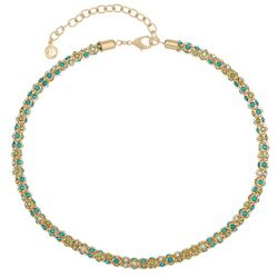 Gloria Vanderbilt Goldtone Emerald Jewel Mesh Chain Necklace