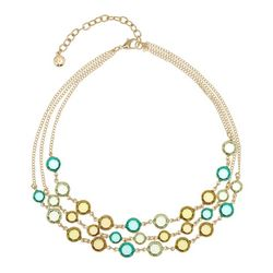 Gloria Vanderbilt Triple Faceted Stone Gold Tone Necklace