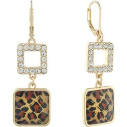 Gloria Vanderbilt Gold Tone Leopard Rhinestone Drop Earrings
