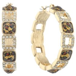 Gloria Vanderbilt Gold Tone Rhinestone Leopard Hoop Earrings