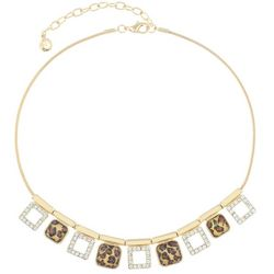 Gloria Vanderbilt Square Leopard and Rhinestone Necklace
