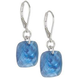 Blue Square Dangle Earrings