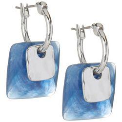 Blue Square Hoop Earrings