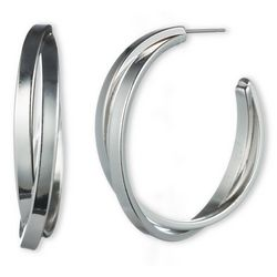 Gloria Vanderbilt Silver Tone Twist Hoop Earrings