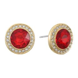 Gloria Vanderbilt Large Round Crystal Stud Earrings