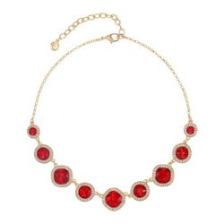 Gloria Vanderbilt Faux Ruby Gold Tone Necklace