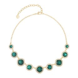 Gloria Vanderbilt Faux Emerald Gold Tone Necklace