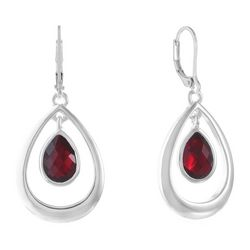 Gloria Vanderbilt Faux Ruby Multi-Faceted Teardrop Earrings