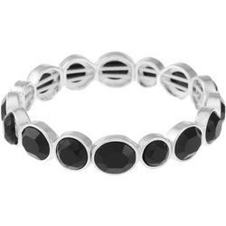 Gloria Vanderbilt Black Facet Stretch Bracelet