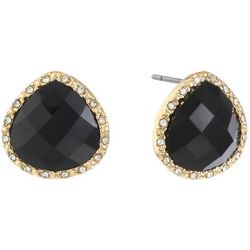Gloria Vanderbilt Black Teardrop Stud Earrings