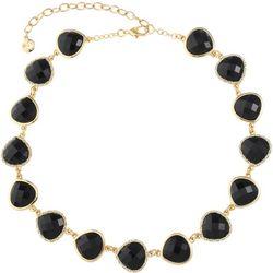 Gloria Vanderbilt Black Facet Cabochon Necklace