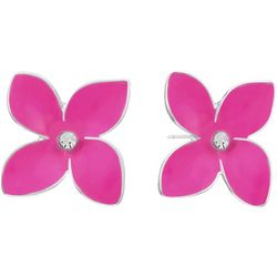 Gloria Vanderbilt Pink Flower Rhinestone Stud Earrings