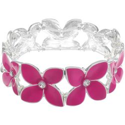 Gloria Vanderbilt Pink Flower Stretch Bracelet
