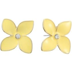 Gloria Vanderbilt Yellow Flower Rhinestone Stud Earrings
