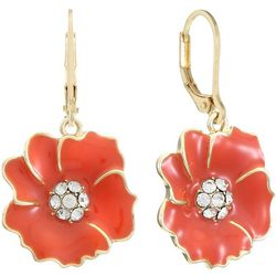 Gloria Vanderbilt Coral Orange Flowers Dangle Earrings