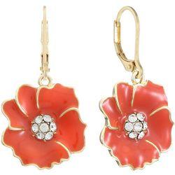 Gloria Vanderbilt Coral Orange Flowers Dangle Earrings