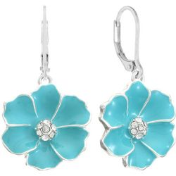 Gloria Vanderbilt Turquoise Blue Flowers Dangle Earrings