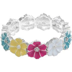 Gloria Vanderbilt Colorful Flowers Stretch Bracelet