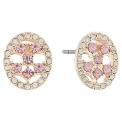 Gloria Vanderbilt Clear & Pink Oval Post Back Earrings