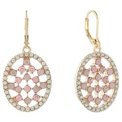 Gloria Vanderbilt Clear & Pink Oval Leverback Earrings