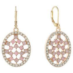 Gloria Vanderbilt Clear & Pink Oval Leverback Earrings
