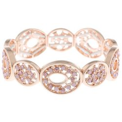 Gloria Vanderbilt Pink Rhinestone Rose Gold Tone Bracelet