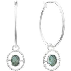 Gloria Vanderbilt Multi-Faceted Stone Hoop Earrings