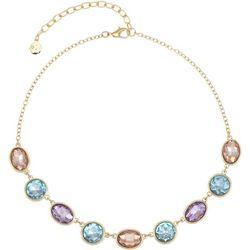 Gloria Vanderbilt Multi-Faceted Stones Gold Tone Necklace