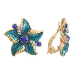 Gloria Vanderbilt Enamel & Rhinestone Starfish Clip Earrings