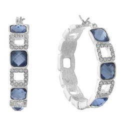 Gloria Vanderbilt Rhinestone Squares Hoop Earrings