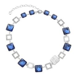 Gloria Vanderbilt Silvertone Squares Collar Necklace