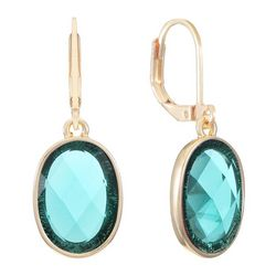 Gloria Vanderbilt Oval Ring Faceted Stone Drop Earrings