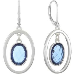 Gloria Vanderbilt Blue & Silver Tone Oval Drop Earrings